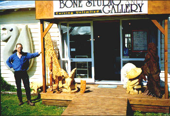 Ian welcomes you to the Bone Studio and Gallery -- 'Carvings Unlimited'