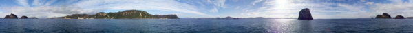 360° Panorama of Mercury Bay Panorama standing off Hahei and Cathedral Cove